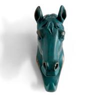 ingrosso regali bronzo cavallo-Appendiabiti singolo a parete testa di cavallo / appendiabiti Appendiabiti a forma di animale gancio resistente, rustico, riciclato, regalo decorativo, colore bronzo rustico