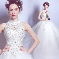 Wholesale High Neck 29 - tsw-29 Free Shipping 2017 lace halter ball gowns beads Plus Size Wedding Dresses Vestidos De Novia Bridal Dress Robe de Mariee