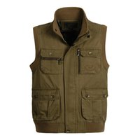 Wholesale Green Photographers - Wholesale- Men Vest Photographer Waistcoat Sleeveless Jacket Winter Autumn Army Green Khaki Plus Size Clothing 4XL 5XL 6XL Casual New Brand