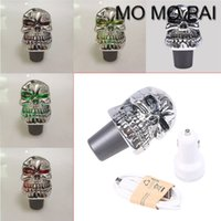 Wholesale Universal Green Shift Knob - HOT Universal MT New Touch Activated RGB Colorful Manual Auto Gear Shift Knob CAR Shifter Chrome