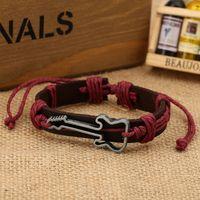 Wholesale Leather Guitar Wristbands - Wholesale-DF021 bracelet men cheap adjustable fashion jewelry ornament bracelets bangles guitar music bangle wristband color send random
