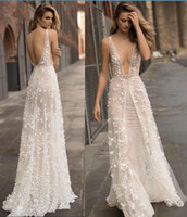 Wholesale Shinny Gold Beads - 3D Floral 2017 Berta Bridal Gowns Sexy Deep V Neck Sheath Shinny Wedding Dresses Overskirts Backless Summer Beach Wedding Gowns
