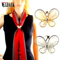 Wholesale Beautiful Butterfly Brooch - Wholesale- 2015New fashion beautiful butterfly scarf buckle inlaid Opal high-end shoulder-buckle fashion women wholesale brooch corsage