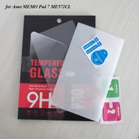 bloc-notes protecteur d'écran achat en gros de-En gros-100 PCS / Lot Bonne Qualité Film En Verre Pour Asus MEMO Pad 7 Protecteur D'écran En Verre Trempé ME572CL Par DHL