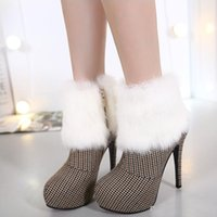 Wholesale Sexy Shoes Small Heels - Luxury Rabbit Fur Small Plaid High Heel Platform Ankle Boots Women Sexy Shoes 2017 New 2 Colors Size 34 To 39