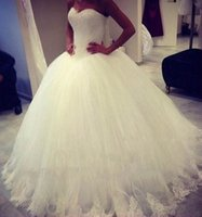 Wholesale Imported Wedding Dresses China - Sweetheart Ball Gown Wedding Dresses Tulle Skirt With Lace Appliques Country Bridal Gowns Imported China Cheap Plus Size