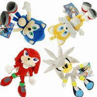 """Wholesale Sonic Doll - EMS New 4 Styles 8""""-9"""" 20CM-23CM Sonic The Hedgehog Stuffed Doll Sonic Knuckles Silver Tails The Echidna Plush Dolls Gifts Soft Toys"""