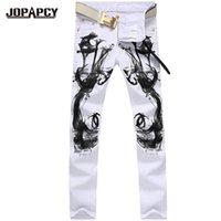 Wholesale Chinese Fashion Jeans - Wholesale-high quality fashion White Printed Casual hip hop rock Jeans men denim pants Straight Homme Men's Trousers Upscak Hombre MYA0179