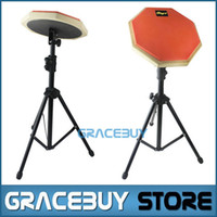 Wholesale Practice Drum Pad Electronic - Wholesale- 8'' Beginner Silent Practice Drum Pads With Stand Drumming Practise Dumpad Set For Drummers Gift 1 Pair Drumsticks