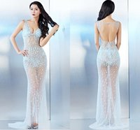 Wholesale Popular Sexy Club Dresses - Sleeveless V-Neck Illusion Beads Floor Length Sexy Evening Dresses Backless Popular Evening Gowns Modern Prom Dresses
