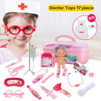 Huanger 17pcs Doctor Play Toys Set Doctora Juguetes для детского медицинского комплекта Baby Educational Box Light Role Pretend Classic Gift