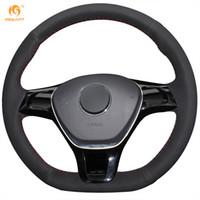 radio tiguan al por mayor-Mewant Black Suede Cubierta del volante del coche para Volkswagen VW Golf 7 Mk7 Nuevo Polo Jetta Passat B8 Tiguan Sharan Touran Up