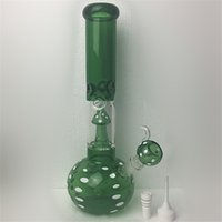 Wholesale making bowl - Green Mushroom glass beaker bong zob hitman Water pipes colored colorful hand made dab rigs oil heady bongs pipe with bowl and Ceramic nail