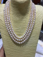 Wholesale Tungsten Wear Plates - Fashionable sexy luxury 3 laps wear the queen of the same water 7.5-8mm pearl necklace