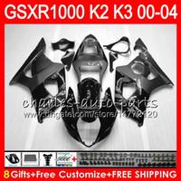 Wholesale Gsxr Grey - 8Gifts 23Colors For SUZUKI GSXR1000 00 01 02 03 04 gloss grey K2 14NO52 GSXR-1000 GSX R1000 2000 2001 2002 K3 GSXR 1000 2003 2004 Fairing
