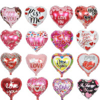 Wholesale Love Toy Heart - 10pcs lot 18'' I LOVE YOU Balloons Valentine day Wedding Decorations Party Supplies Heart shape Love Foil Balloons Globos