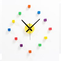 battery squared wall clock - Creative Abstruct Wall Clock Colorful Square Clocks DIY Wooden decorative wall clock Modern Wall Murals Gifts for New Home Luxury Diy Clock