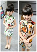 Wholesale Children Dressed Traditional Clothing - 2016 new arrival kid's cheongsam short sleeve girl's skirt children clothes Chinese traditional dress cotton & linen free shipping