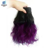 Wholesale Purple Indian Hair Extensions - 300g Ombre Human Hair Bundles Two Tone T 1B Purple Good Quality Colored Brazilian Hair Extensions Brazilian Body Wave