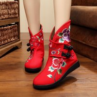Wholesale Double Buckle Boots - Embroidered shoes double butterfly women's boots autumn winter shoes cloth shoes quality comfortable retro embroidered knight boots. XZ-019