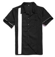 camisas dos homens de algodão on-line venda por atacado-Vintage Atacado-Shirts Reino Unido SpringSummer Cotton curto Mens Sleeve Camisas Casual Classic Black Color Plus Size Loja Online Grátis