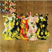Wholesale baby swan rompers resale online - Baby Lemon Jumpsuit Girls Floral Pineapple Rompers Swan Sleeveless Bow Cotton Print Summer Outfits Flower Bodysuit Baby Kids Clothing J271