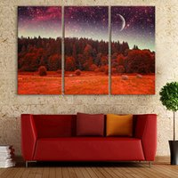 Wholesale Flash Led Picture - Forest LED Flashing Optical Fiber Painting Stretched LED Canvas Print Set Of 3 Landscape Oil Painting