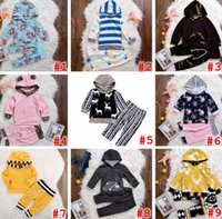 Wholesale Hooded Tshirt Boys - INS XMAS Spring Children Boys Girls Striped 2pc set Hooded outfits infant leopard chevron floral coat tshirt & girls boys striped short pant