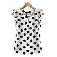 Wholesale T Shirt Donna Fashion - Wholesale-M-XXL Summer Beauty Women's Polka Dot Slim Casual Short Sleeve T-shirt Tops camicia donna top mujer
