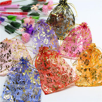 Wholesale organza bag rose - Organza Bags Wedding Gift wrap pouch Drawstring Bag candy bags Jewelry Pouches package bags rose design