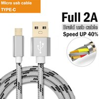 Wholesale Micro Current Wholesale - 2A Current USB Micro USB Cable Nylon Braided Data Sync Charging Android cable For Samsung HTC LG Galaxy Android Phone Gold wire