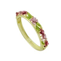 Wholesale Colorful Enamel Bangles For Women - Colorful Enamel Flower Shape Bracelets Bangles for Women