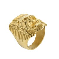león africano al por mayor-Acero inoxidable retro Vintage africano rugiente león rey cara león cabeza anillo hombres mujeres joyas de oro regalo de navidad