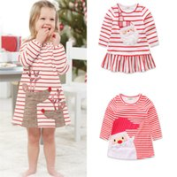 Wholesale pink reindeer resale online - Cute Christmas dresses for girl Santa clause Reindeer Appliqued Red Striped Dress Long sleeve New arrival