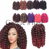 Freetress Wand Curl Crochet Hair Extensions 20Pcs / Pack Ombre Braiding Twist Hair Synthetic Jumpy Wand Curls Crochet Braids Hair