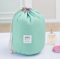 Wholesale Green Dresser - New Korean 2017 elegant large capacity Barrel Shaped Nylon Organizer Storage Travel Dresser Pouch Cosmetic Makeup Bag For Women