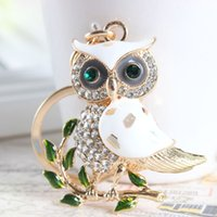 Cute Owl Branch Branco Crystal Charm Purse Handbag Key Key Key Key Keychain Party Wedding Birthday Gift