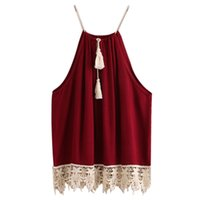 Wholesale Plus Size Cami Lace - Wholesale-Woman Sexy Spaghetti Strap Tank Top Summer 2016 Backless Lace Trimmed Tasselled Drawstring Neck Camisole Plus Size Cami Tank