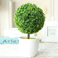 Wholesale Indoor Artificial Trees - 2PCS MOQ FREE SHIPPING Elagant Purple Artificial Flower Pot Plant Lucky Tree&Ball For Wedding Birthday Party Indoor Topiary Table Decoration