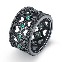 Wholesale Topaz Gemstone Men Rings - Women Men Ring Black Gold Plated Natural Gemstone Topaz Cubic Zircon Charm Christmas Gift Size 6 7 8 9 18KRGPR1021