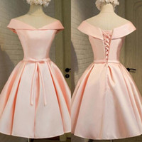 Wholesale Cheap Formal Dresses For Juniors - 2017 Cheap Homecoming Dresses Blush Pink Off the Shoulder Short Formal Dresses for Juniors Graduation Prom Party Gowns Lace up Back Custom