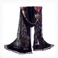 Wholesale Blue Velvet Scarf - Vintage Peacock 100% Velvet Silk Scarves Chinese Style Women's Beaded Embroidery Shawl Scarf Wrap Long Fringle Pashmina Stole