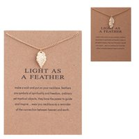 Wholesale White Feather Pendant Light - Fashion Brand Dogeared Necklaces With Card Gold LIGHT AS A FEATHER Leaves charms Pendant necklace For women Jewelry Gift Wholesale