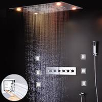 ingrosso getti del corpo della doccia di pioggia-Hot Shower Kit doccia a incasso Dual Rain Masage Cascata Rubinetti termostatici Set con Body Jets