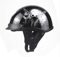 Wholesale Vintage Scooter Helmets - Wholesale- Dot approved Helmet Motorcycle Engine Open face means Personality Retro Vintage Vespa Scooter motorcycle Skull Helmet