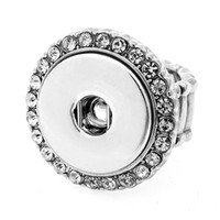 Wholesale China Wholesale Buttons - 10pcs round adjustable 18mm snap button charm ring with crystal for buttons jewelry