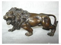 Wholesale metal lion statue - Sculpture&Carving Bronze coffee Fierce Lions Wild Animals Figure Statue gift