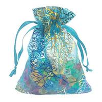 ingrosso diamanti rosa di plastica-Sacchetti del regalo di favore di cerimonia nuziale del partito dei monili dei sacchetti del cordone di organza del corallo 100pcs blu 3.5 * 4.7 in / 9 * 12 cm