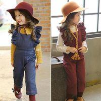 Wholesale Solid Color Baby Bibs - New baby imitate Denim suspender pants fashion kids Wide-legged Bib pants children Lace sleeves bell-bottoms Jumpsuit pants C1603