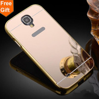 Wholesale Gold Plated S4 - for samsung S4 New plating Aluminum Frame + Mirror Acrylic Back Cover Case for Samsung Galaxy S4 i9500 Phone protective
